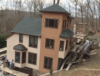 EIFS replaced with REAL color cement stucco in Bethesda, Maryland
