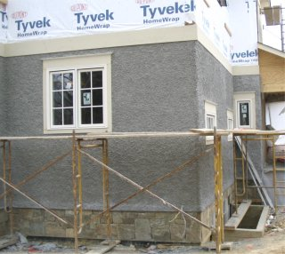 New Pebble Dash Stucco House In Chevy Chase